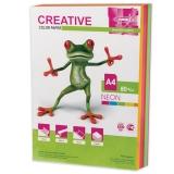 Бумага CREATIVE color (Креатив) А4, 80г/м, 250 л. (5 цв.х50л.) цветная неон, БНpr-250r, ш/к 41942