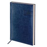 Ежедневник датированный 2020 А5, BRAUBERG Imperial, гладкая кожа, крем.блок, т-синий, 138*213мм