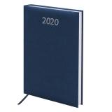 Ежедневник датированный 2020 А5, BRAUBERG Profile, фактурная кожа, синий, 138*213мм, 129708