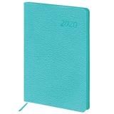 Ежедневник датированный 2020 А5, BRAUBERG Stylish, интеграл.обл., цветной срез, бирюзовый, 138*213мм