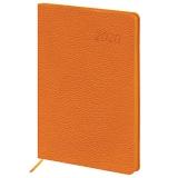 Ежедневник датированный 2020 А5, BRAUBERG Stylish, интеграл.обл., цветной срез, оранжевый, 138*213мм