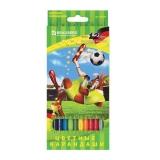 """Карандаши цветные BRAUBERG """"Football match"""", 12 цв., заточенные, карт. упак.,180534"""