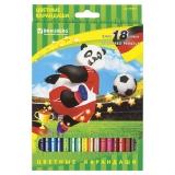 """Карандаши цветные BRAUBERG """"Football match"""", 18 цв., заточенные, карт. упак., 180549"""