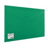 Конверт пласт. на  кнопке  BRAUBERG, А4, до 100 л, непрозрачная, зеленая, СВЕРХПРОЧНАЯ 0,2 мм, 22136