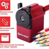 Точилка механическая BRAUBERG металлический механизм, черный/бордовый, 222517