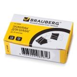 Зажим д/бумаг 15 мм BRAUBERG,/12 шт, на 45 листов, черные, карт.кор., 223969