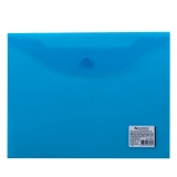 Конверт пласт. на  кнопке BRAUBERG, А5, 240*190 мм, 150 мкм, прозрачная, синяя, 224027