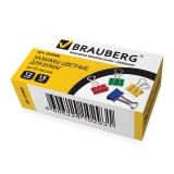 Зажим д/бумаг 15 мм,BRAUBERG, /12 шт,на 45 листов, цветные, карт.кор., 224469