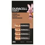 Батарейки ,DURACELL Simply,AA(LR06,15А),/4шт/алкалин,пальчиковые,(ш/к 29221)