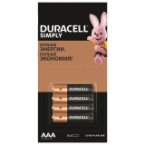 Батарейки ,DURACELL Simply,,AAА(LR03,24А) /4шт/,алкалин,мизинчиковые,(ш/к 29337)