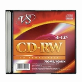 Диск CD-RW VS 700Mb 4-12x Slim Case (1 штука), VSCDRWSL01 (ш/к - 20199)