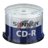 Диски CD-R SONNEN 700Mb 52x Cake Box КОМПЛЕКТ 50шт, 512570