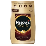 """Кофе молотый в растворимом NESCAFE (Нескафе) """"Gold"""", сублимированный, 750г, мягкая упаковка,12146905"""
